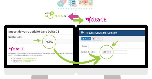 Démonstration de l'identifiant de l'activité sur MesSorties.fr et DeltaCE